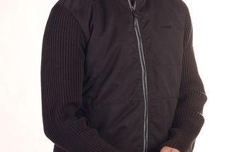Pánská černá bunda s úpletovými rukávy Reebok
