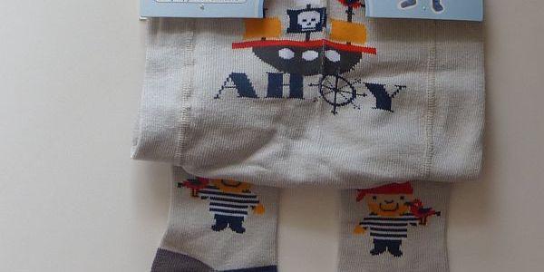 YO - Punčocháčky bavlněné vel. 80-86- šedé s piráty