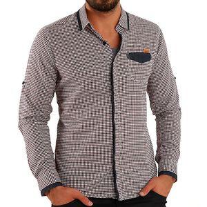 Pánská hnědá košile s kostičkami Premium Company