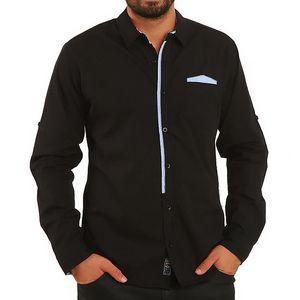 Pánská černá košile s kontrastními prvky Premium Company