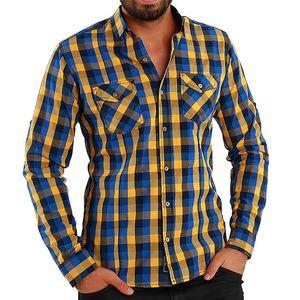Pánská modro-žlutě kostkovaná košile Premium Company