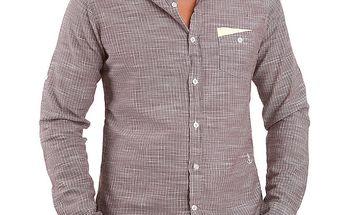 Pánská hnědá košile se svislými proužky Premium Company