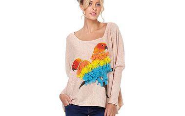 Splývavý svetřík s papouškem
