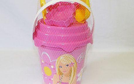 Sada na písek Barbie - kyblík, hrabičky, lopatka, 2 formičky, sítko
