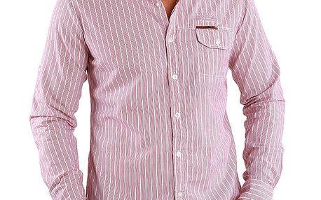 Pánská světle červená pruhovaná košile Premium Company