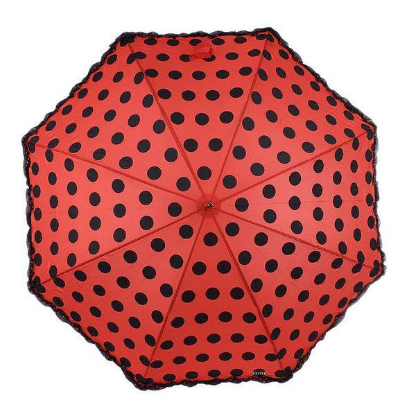 Dámský červený vystřelovací deštník s puntíky Ferré Milano