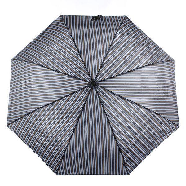 Pánský modro-šedý pruhovaný deštník s hnědým detailem Ferré Milano