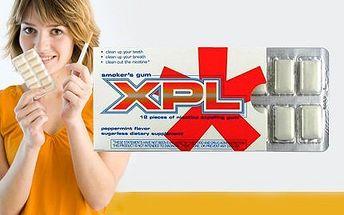 3 balení XPL žvýkaček pro odbourání nikotinu z těla