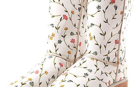 Dámské bílé boty s potiskem květinových řetězů Elite Goby