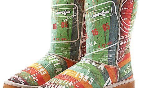 Dámské barevné boty s cestovatelským potiskem Elite Goby