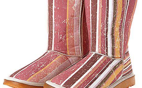 Dámské růžovo-oranžovo-bílé proužkaté boty Elite Goby