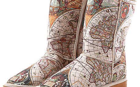 Dámské hnědo-béžové boty Elite Goby s potiskem mapy