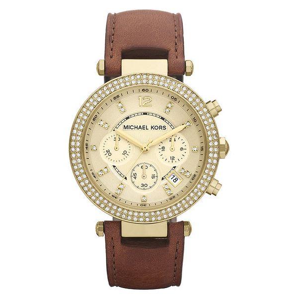 Dámské pozlacené hodinky s hnědým řemínkem Michael Kors