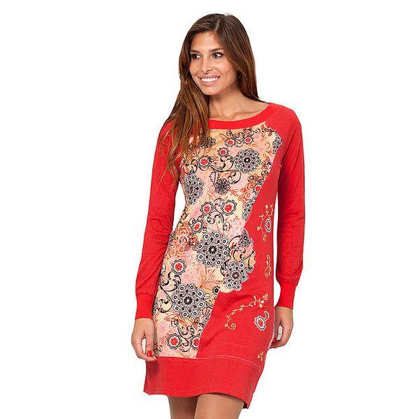 Dámské malinové šaty s květinovým vzorem Janis