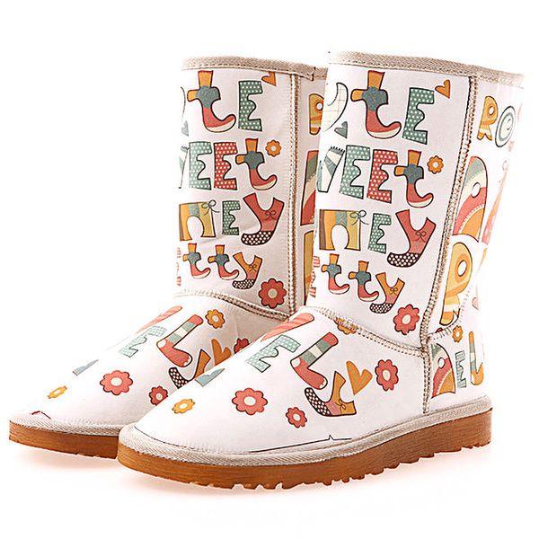 Dámské krémové boty s písmenky Elite Goby