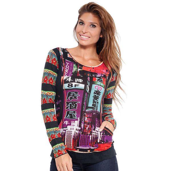 Dámské barevné tričko s dlouhým rukávem Janis