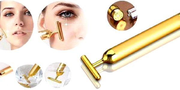 Golden Beauty Bar - Luxusní galvanická žehlička. Zjemní, zpevní a projasní pleť, vyhladí kontury a vrásky.Podporuje tvorbu kolagenu a revitalizaci buněk.