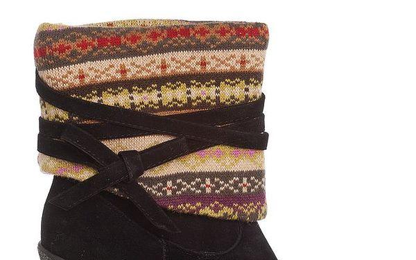 Dámské černé kozačky Moow s pleteninou