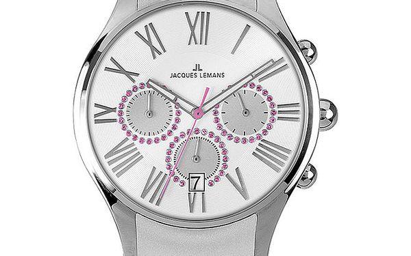 Dámské stříbrno-růžové hodinky Jacques Lemans