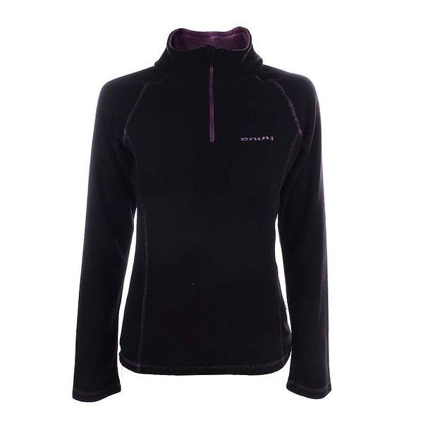 Dámská černá fleecová mikina s fialovým zipem Envy