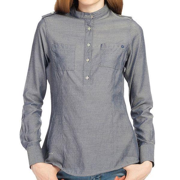 Dámská modrá košile s polovičním zapínáním Galvanni