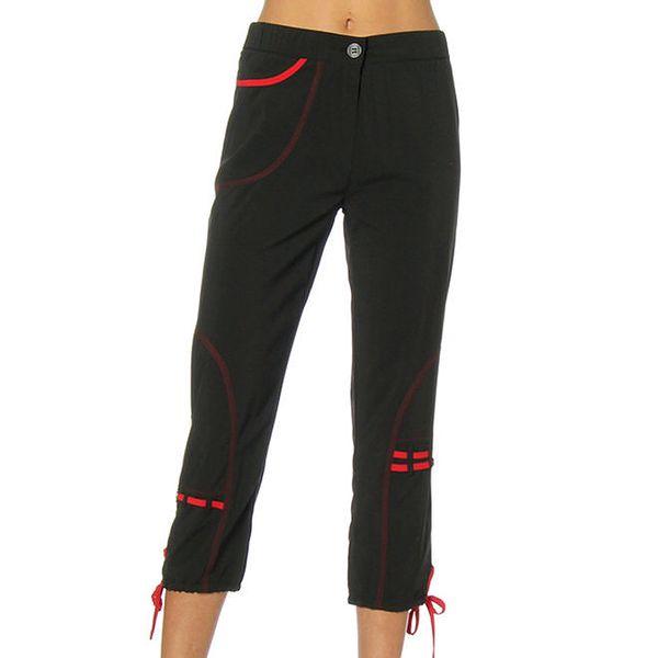 Dámské černé kalhoty s červenými detaily Squise