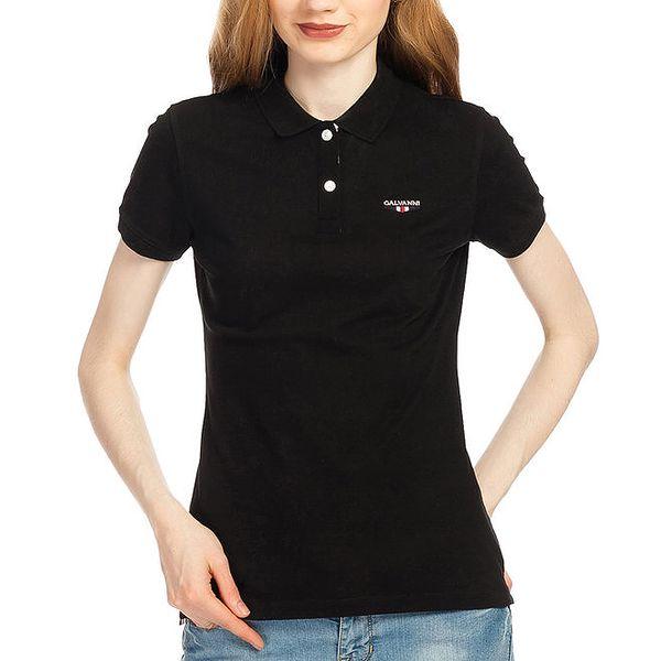 Dámské černé polo tričko s krátkým rukávem Galvanni