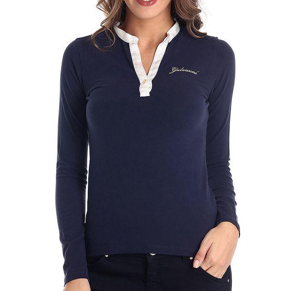 Dámské modré tričko s bílým límečkem a dlouhým rukávem Galvanni
