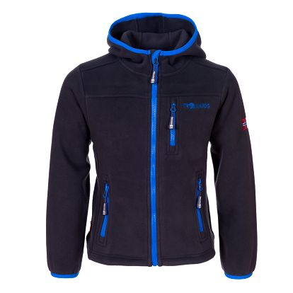 Dětská fleesová bunda s kapucí - šedo/tyrkysová