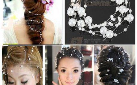 Elegantní síťka do vlasů s bílými perličkami a poštovné ZDARMA! - 28113693
