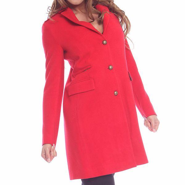 Dámský červený kabát s měděnými knoflíky Vera Ravenna