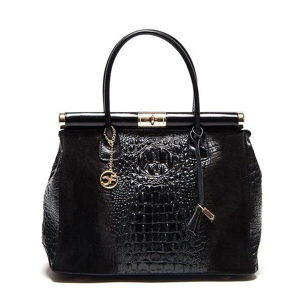 Dámská kufříková kabelka v černé barvě Carla Ferreri