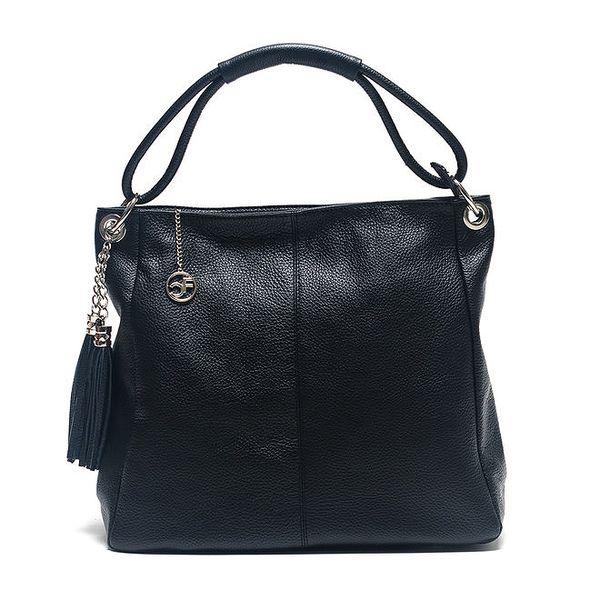Dámská černá kožená kabelka s ozdobnými střapci Carla Ferreri