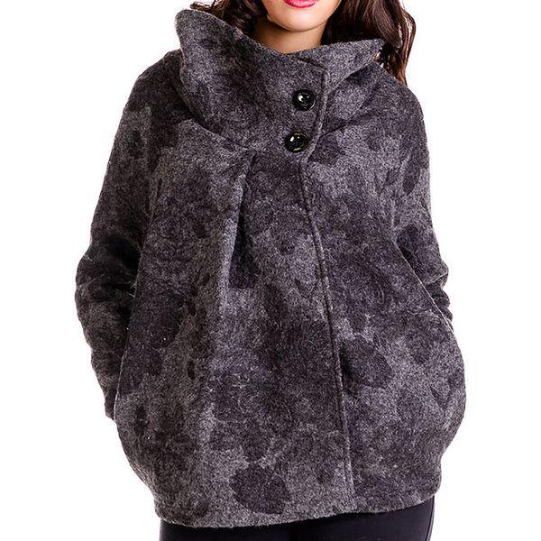 Dámský antracitový oversized kabát s potiskem Keysha