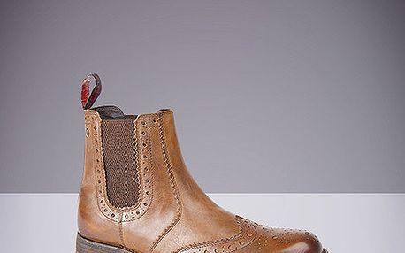 Pánské hnědé kožené kotníkové boty s dekorativní perforací Route21