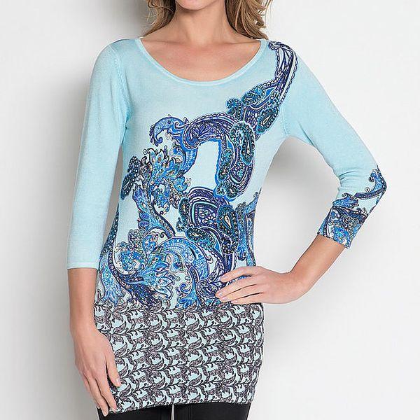Dámská modrá tunika s elegantním vzorem a kamínky Imagini