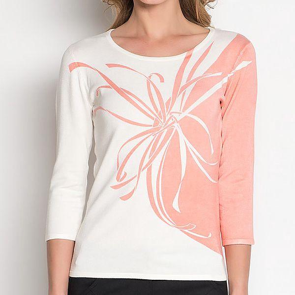 Dámské bílé tričko s meruňkovým potiskem Imagini