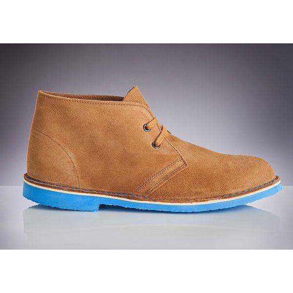 Pánské hnědé boty s modrou podrážkou Roamers