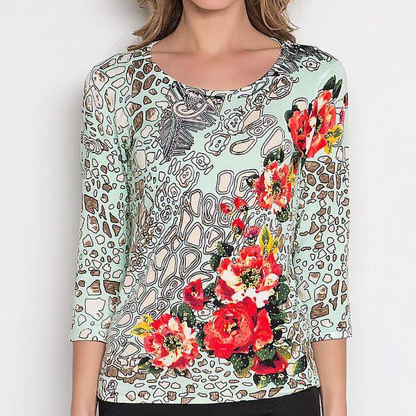Dámské mint tričko se vzorem a květinami Imagini