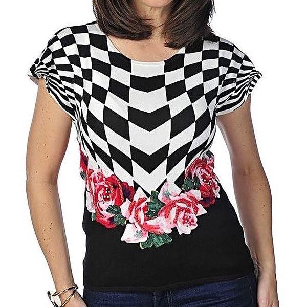 Dámský černobílý svetřík s růžemi Imagini