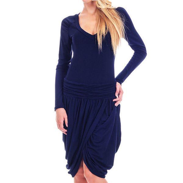 Dámské tmavě modré šaty s tulipánovou sukní Berry Couture