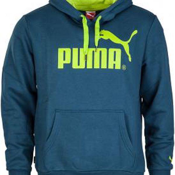 Puma LOGO HOODED SWEAT tmavě zelená L