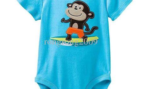 Kojenecké chlapecké body krátký rukáv s výšivkou - Opička vel. 9 m