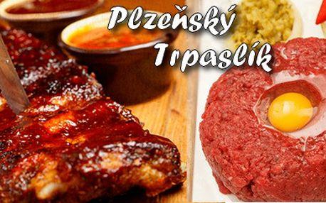 Jen 222 Kč za 1kg pečených uzených vepřových žebírek na černém pivě s křenem a hořčicí + 100g tataráku se šesti topinkami v restauraci Plzeňský Trpaslík. Super posezení s partou přátel v legendární plzeňské restauraci.
