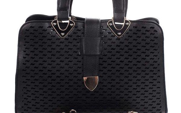 Dámská černá kabelka s dekorativním perforováním London Fashion