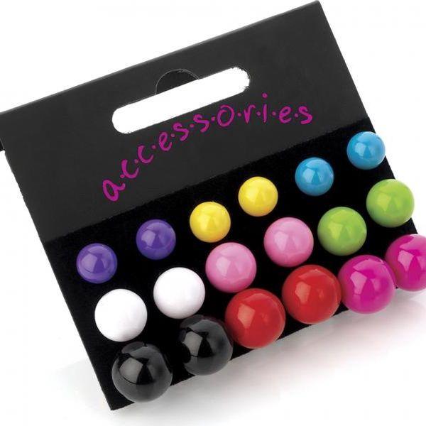 SET: Devět párů barevných náušnic Rainbow 20687