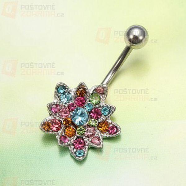 Pestrobarevný piercing do pupíku a poštovné ZDARMA! - 28413740