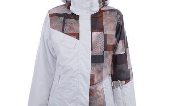 Dámská bílá lyžařská bunda s barevným potiskem Authority
