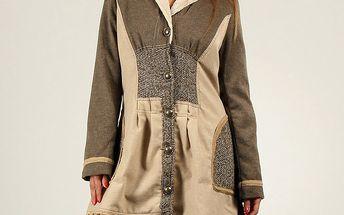 Dámský hnědo-béžový kabát s knoflíky Angels Never Die