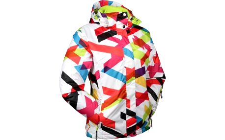 Dámská bílá lyžařská bunda s barevným vzorem Authority